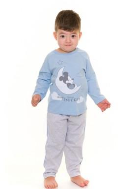 pijama longo infantil masculino mickey azul evanilda 41030004