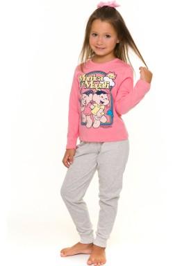 pijama longo infantil feminino turma da monica rosa evanilda 24040061