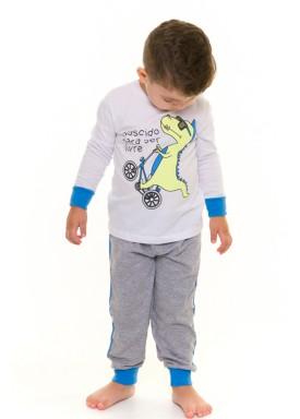 pijama longo infantil masculino dino branco evanilda 41010004