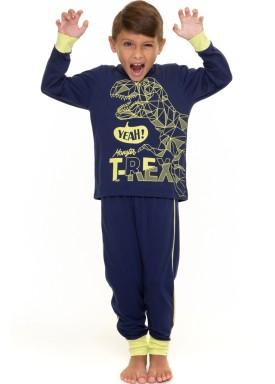 pijama longo infantil masculino trex marinho evanilda 27010040