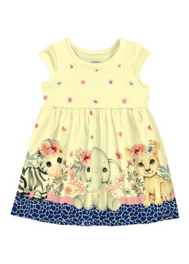 vestido bebe feminino animais amarelo alakazoo 39552