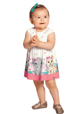 vestido bebe feminino animais offwhite alakazoo 39552 1