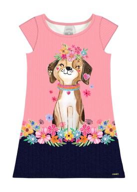 vestido infantil feminino dog rosa alakazoo 39561