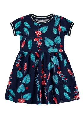 vestido infantil feminino folhas marinho alakazoo 39564