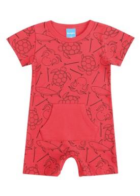 macaquinho suedine bebe masculino animais vermelho kamylus 12006
