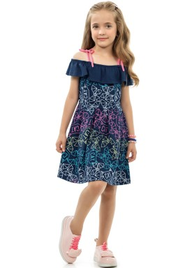 vestido infantil feminino cats marinho kamylus 10194 1