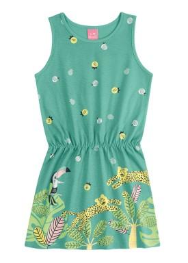 vestido infantil feminino floresta verde kamylus 10179
