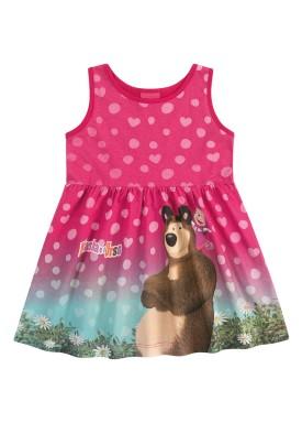 vestido infantil feminino masha urso rosa kamylus 88040