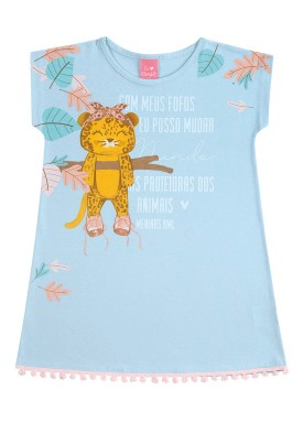 vestido infantil feminino oncinha azul kamylus 10165