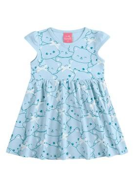 vestido suedine bebe feminino cute azul kamylus 10145