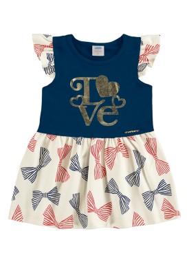 vestido bebe feminino love marinho marlan 40356