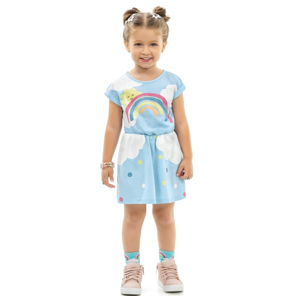 vestido infantil feminino arco iris azul kamylus 10159 1