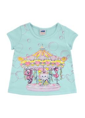 blusa infantil feminina carrossel azul marlan 42443
