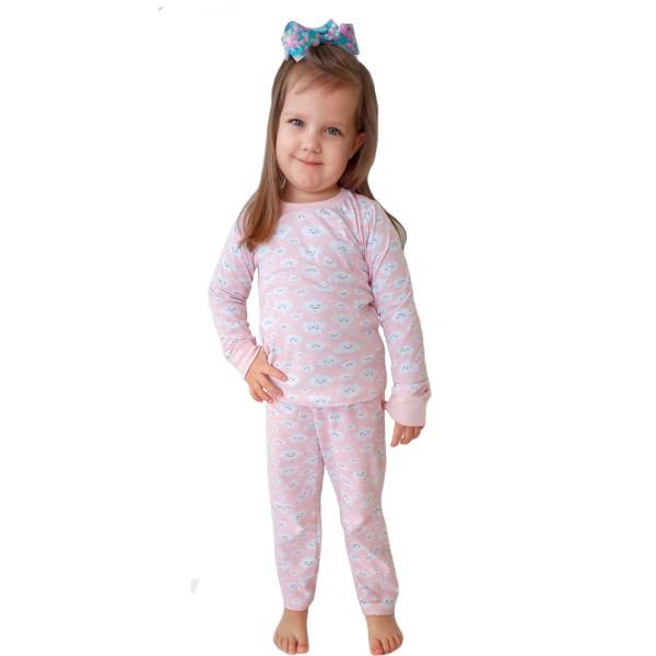 pijama longo infantil feminino nuvens rosa miniliz 1003