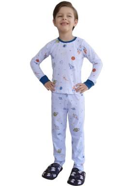 pijama longo infantil masculino space branco johndee 1001