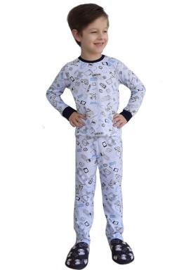 pijama longo infantil masculino traveling branco johndee 1002