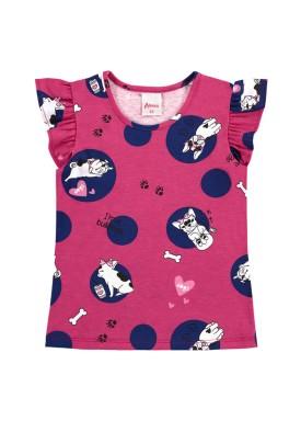 blusa infantil feminina bulldogs pink alenice 44348