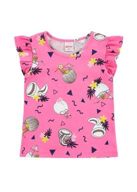 blusa infantil feminina tropical rosa alenice 44348