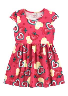 vestido infantil feminino frutas rosa alenice 44350