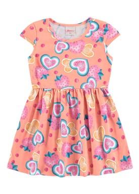 vestido infantil feminino frutas salmao alenice 44350
