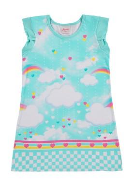 vestido infantil feminino nuvens azul alenice 44362