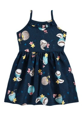 vestido infantil feminino tropical marinho alenice 44349