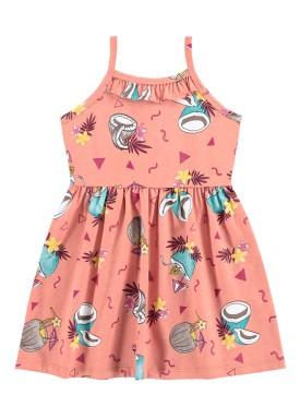 vestido infantil feminino tropical salmao alenice 44349