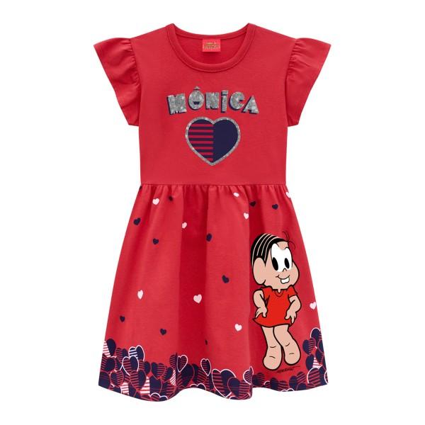 vestido infantil feminino turma da monica vermelho brandili 34537