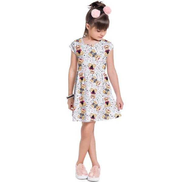vestido infantil feminino ursinhos branco brandili 34604 1