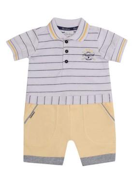macacao meia manga bebe masculino nautical amarelo paraiso 10035