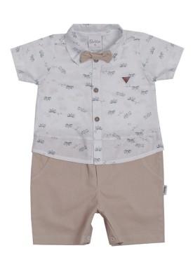 macacao meia manga bebe masculino avioes bege paraiso 9713