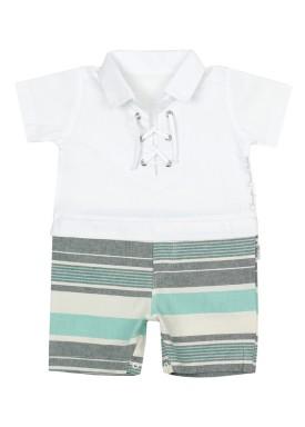 macacao meia manga bebe masculino branco paraiso 8880