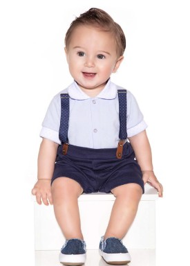 macacao meia manga bebe masculino suedine azul paraiso 10118 1