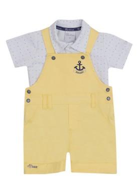 conjunto jardineira polo bebe masculino amarelo paraiso 10122 1