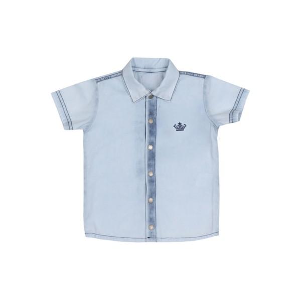 camisa jeans infantil masculina azul paraiso 7718 1