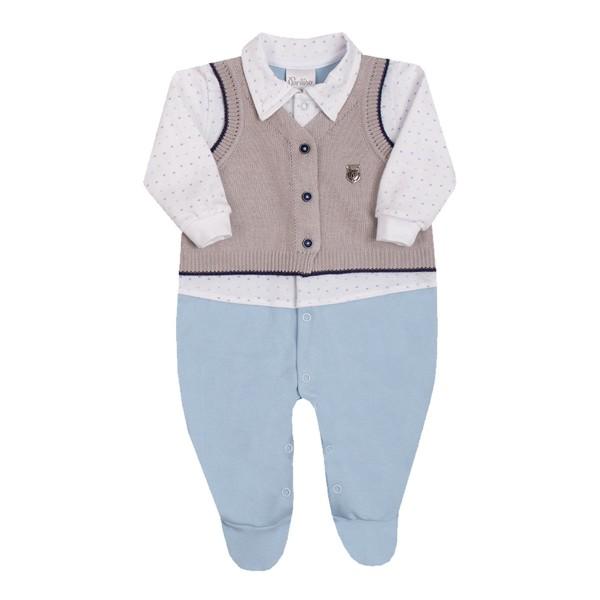 macacao longo bebe masculino trico azul paraiso 10130