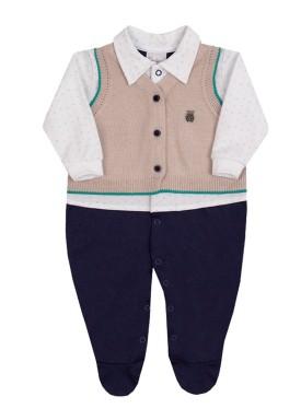 macacao longo bebe masculino trico marinho paraiso 10130