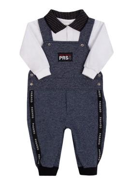 conjunto jardineira body bebe masculino branco paraiso 10134 2