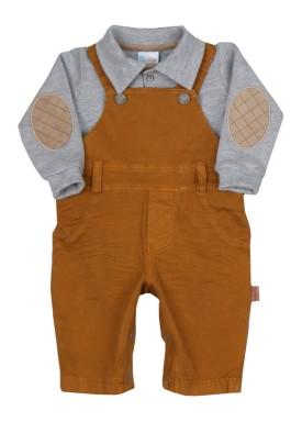 conjunto jardineira body bebe masculino ocre paraiso 7920