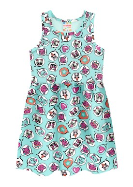 vestido infantil feminino puppies azul brandili 34605