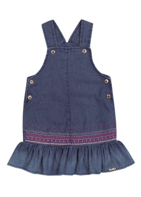 vestido jeans bebe feminino coracoes azul paraiso 9892