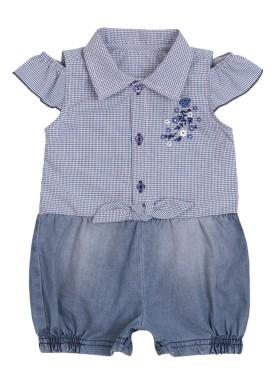 macacao meia manga bebe menina xadrez marinho paraiso 10037