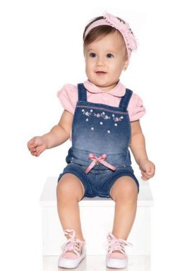 macacao meia manga bebe menina denim rosa paraiso 10040 1