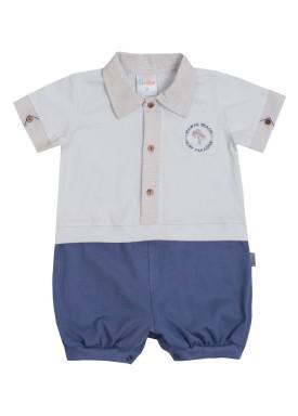 macacao meia manga bebe menino paradise azul paraiso 9716