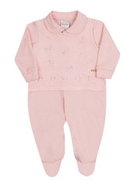 macacao longa bebe menina trico rosa paraiso 10142