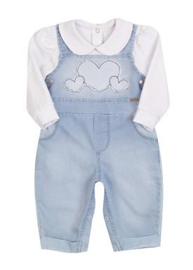 macacao longo bebe menina hearts branco paraiso 10144