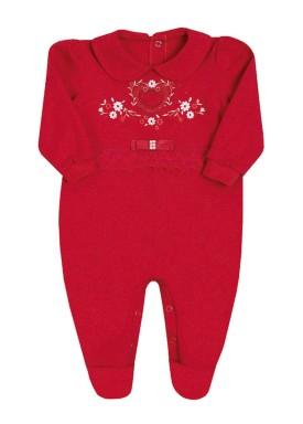 macacao longo bebe menina suedine vermelho paraiso 10150