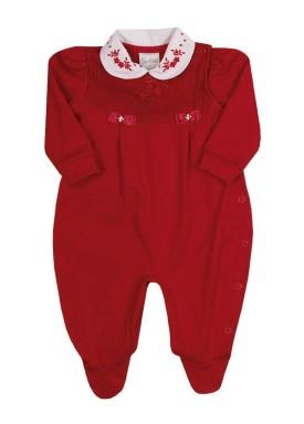 macacao longo bebe menina suedine vermelho paraiso 10151