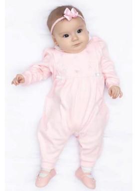 macacao longo bebe menina suedine rosa paraiso 10520 1