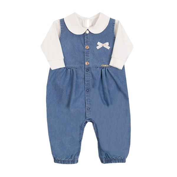 conjunto macacao body bebe feminino creme paraiso 10153